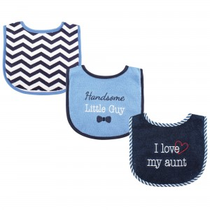 "LUVABLE FRIENDS 3PC BABY BIBS ""I LOVE MY AUNT"""