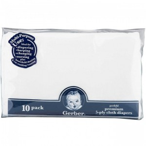 GERBER DIAPER GAUZE 10 PACK PREFOLDED - WHITE