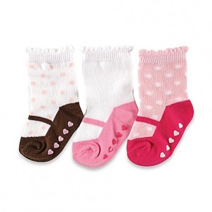 LUVABLE FRIENDS 3 PAIRS NON-SKID SOCKS(6-12M)