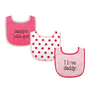 "LUVABLE FRIENDS 3PC BABY BIBS ""I LOVE DADDY"""