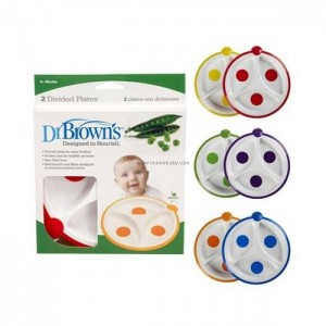 DR BROWN'S DIVIDED FEEDING PLATE - 2 PACK