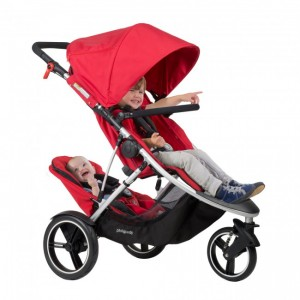 PHIL & TEDS DASH BUGGY WITH DOUBLE KIT-RED