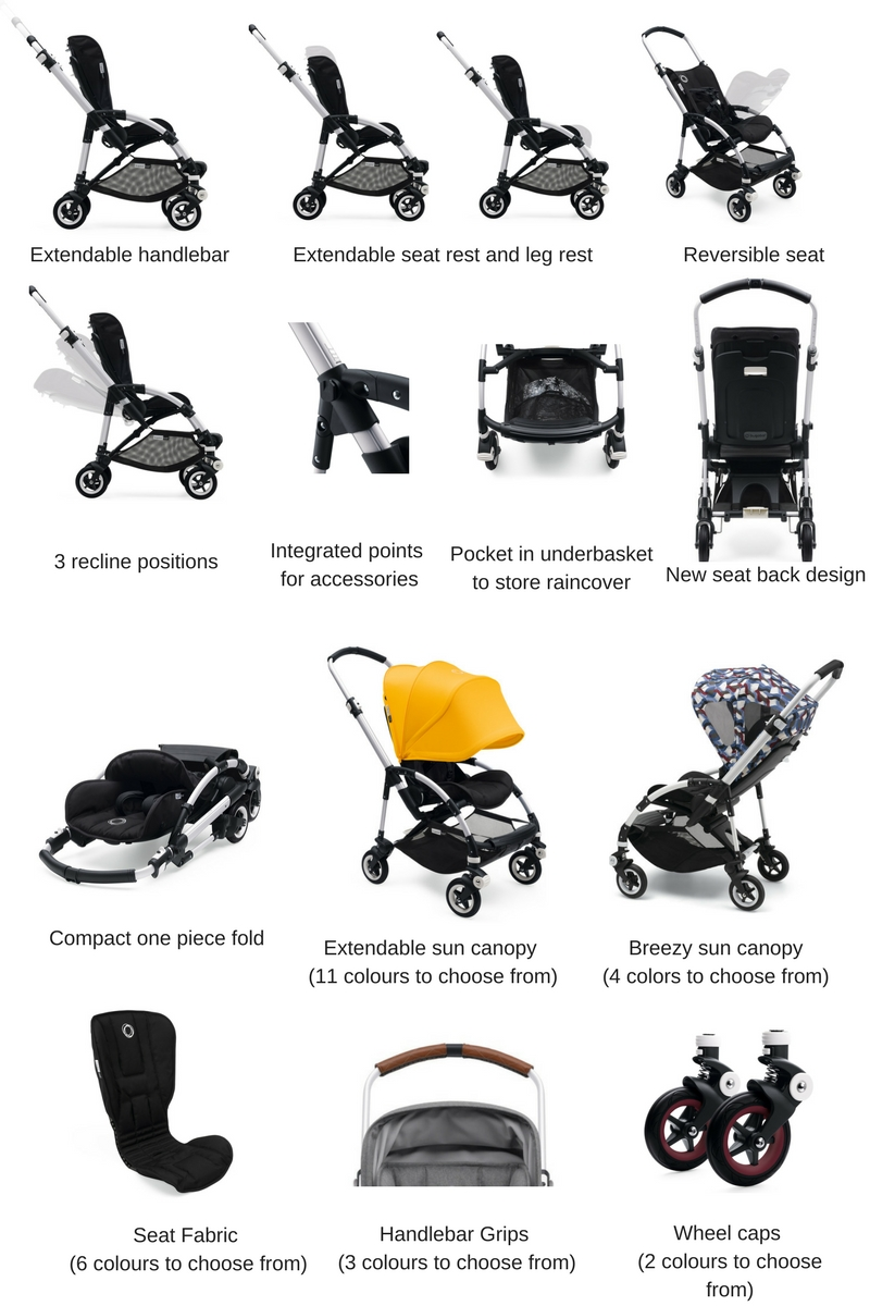 Five-point harness with height-adjustable shoulder straps. - Changeable seat fabric sun canopy grips u0026 wheel caps.  sc 1 st  First Few Years & Bugaboo Bee 5 with Breezy Sun Canopy - Bugaboo - Brands - Strollers