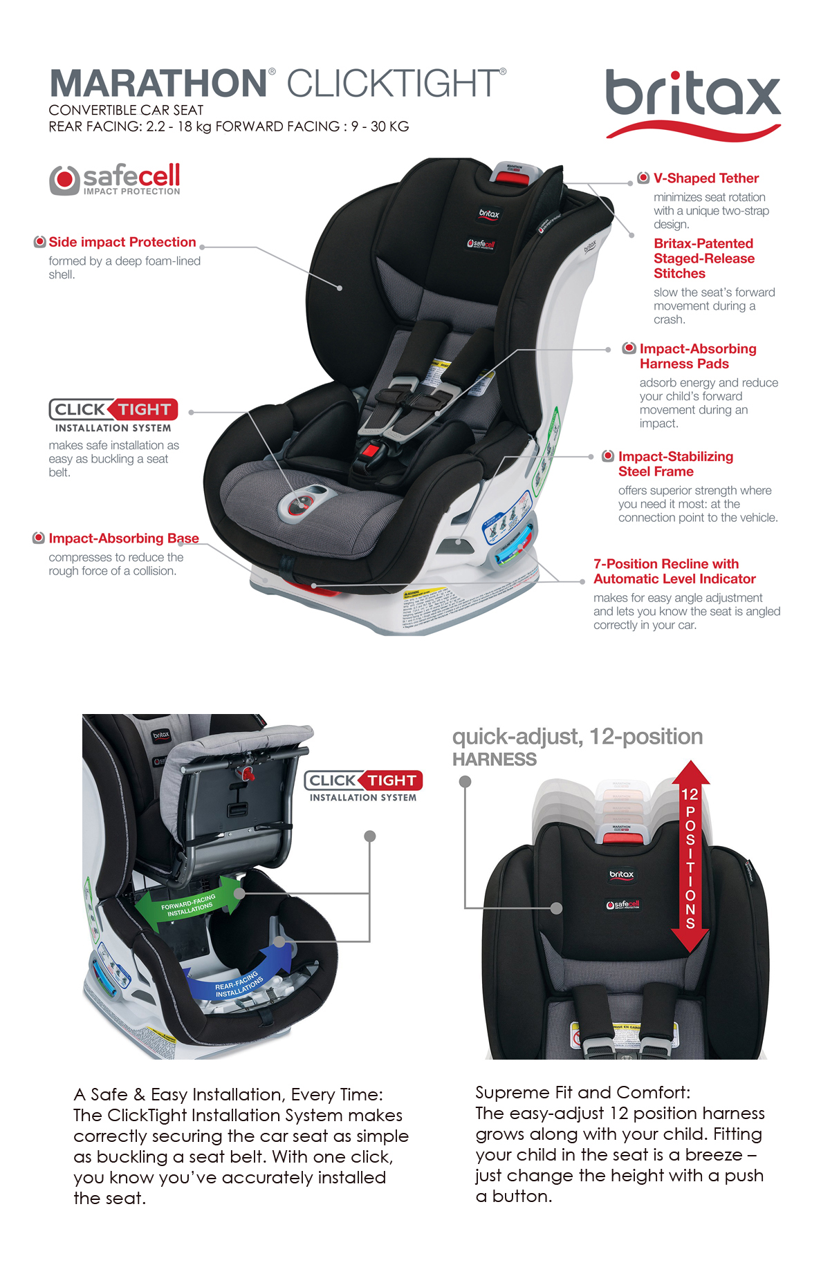 britax marathon click tight infant to toddler car seats. Black Bedroom Furniture Sets. Home Design Ideas