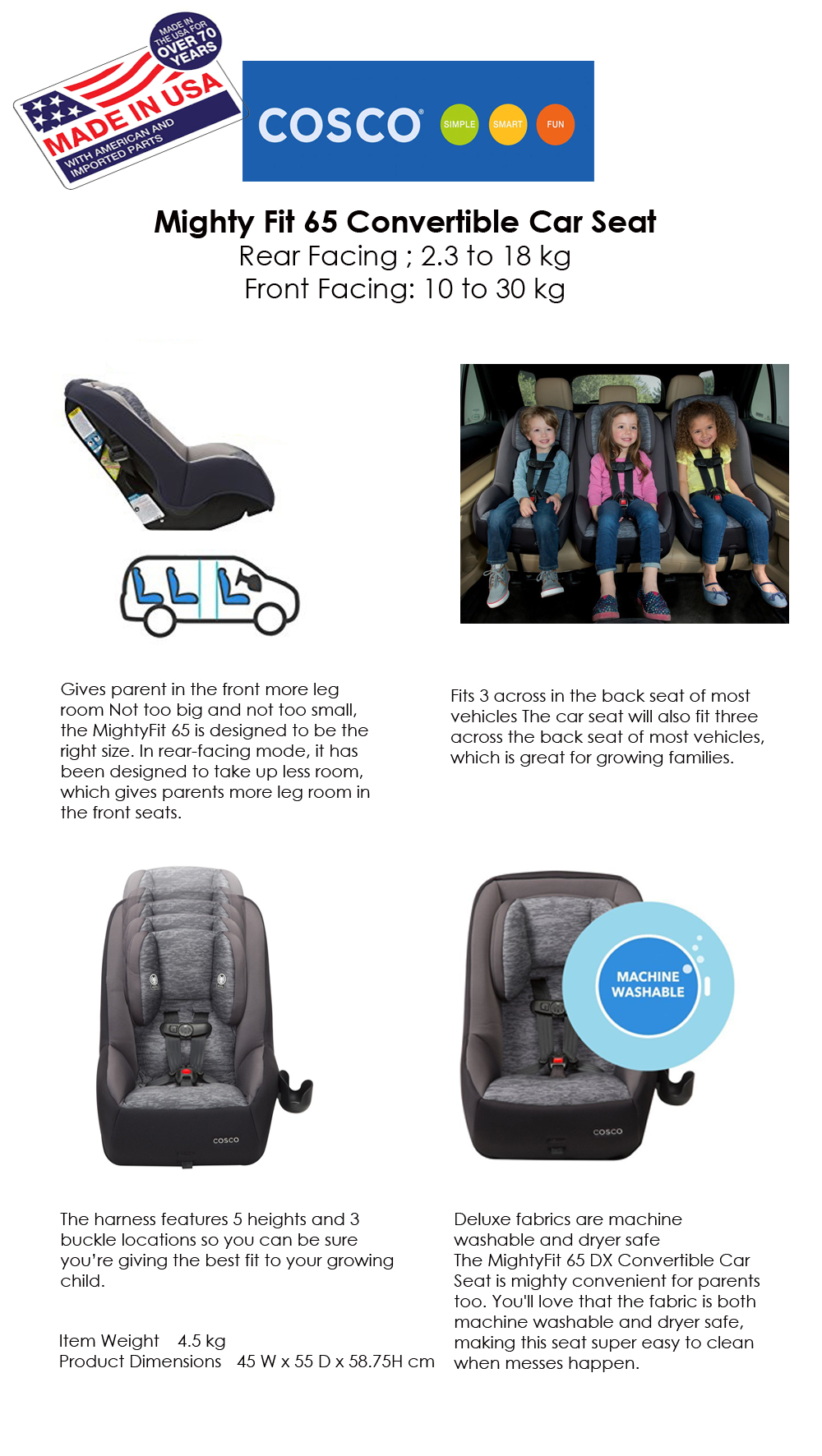 COSCO MIGHTY 65 DELUXE CONVERTIBLE CAR SEAT