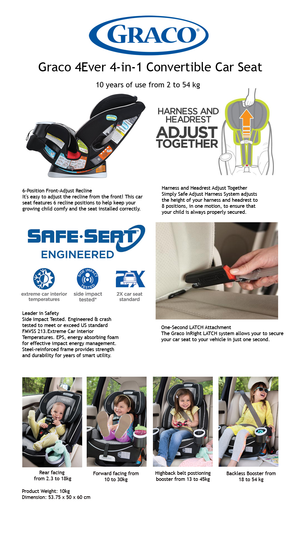 Graco 4Ever 4 In 1 Convertible Car Seat Matrix